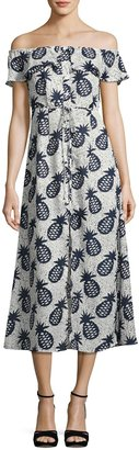 Lucca Couture Off-The-Shoulder Pineapple Midi Dress, Multi $69 thestylecure.com