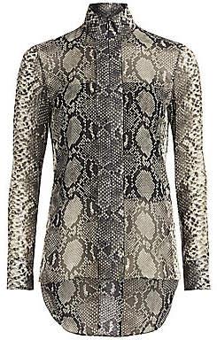 Akris Women's Python-Print Silk Tunic Blouse