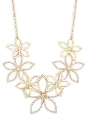 Ava & Aiden Goldtone Crystal Flower Bib Necklace