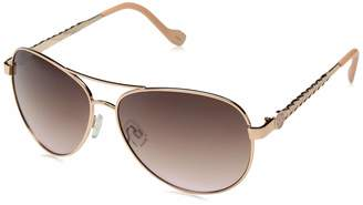 Jessica Simpson Women's J5702 Rgdrs Non-Polarized Iridium Aviator Sunglasses Gold Rose