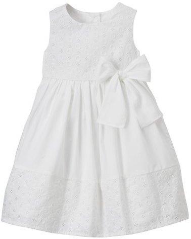 Infant Girls Cherokee Eyelet Dot Dress - White