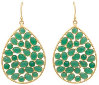 Carousel Jewels - Gold & Sliced Green Onyx Drop Earrings