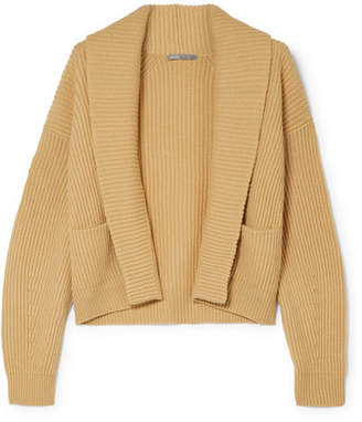 Vince Cropped Ribbed Wool And Cashmere-blend Cardigan - Beige