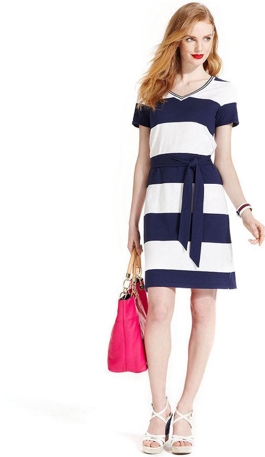 Tommy Hilfiger Short-Sleeve Striped Belted Dress