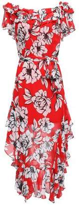 Marissa Webb Asymmetric Ruffled Crinkled-silk Dress