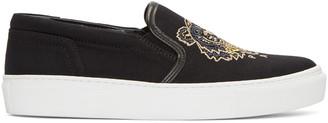 Kenzo Black Tiger Skate Slip-On Sneakers $180 thestylecure.com
