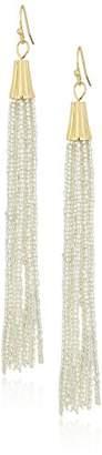 Panacea Women's Silver Seed Bead Tassel Drop Earrings