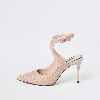 River Island Pink studded cut out pointed court shoe