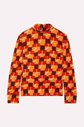 Prada Printed Crepe Top - Orange