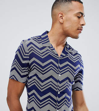 Asos DESIGN Tall skinny viscose chevron stripe shirt in navy