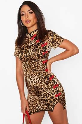boohoo Oriental Style Leopard Print Mini Dress