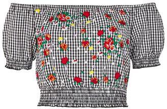 Topshop Gingham embroidered bardot crop top