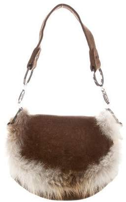 Christian Louboutin Fur-Trimmed Shoulder Bag