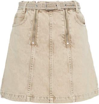 Proenza Schouler PSWL Belted Zip-Detailed Denim Mini Skirt