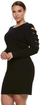 JLO by Jennifer Lopez Plus Size Slashed Sleeve Sweater Dress