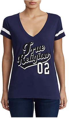 True Religion WOMENS CRYSTAL EMBELLISHED COLLEGE TEE