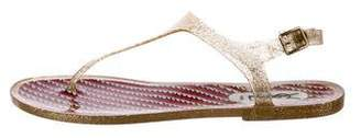 Saint Laurent Rubber Glitter Sandals