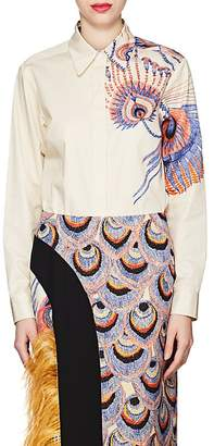Dries Van Noten Women's Feather-Print Cotton Blouse