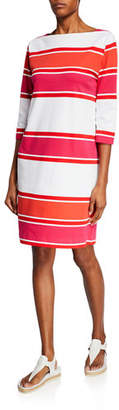 Joan Vass Striped Bateau-Neck 3/4-Sleeve Dress