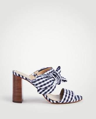 Ann Taylor Oriana Gingham Bow Block Heel Sandals