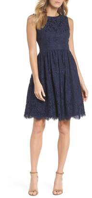 Eliza J Sleeveless Lace Fit & Flare Dress