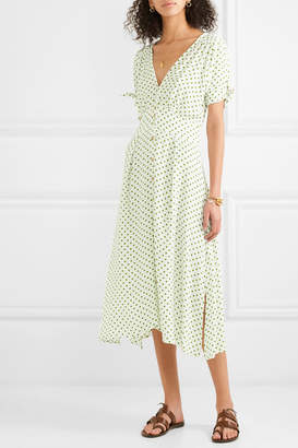 Faithfull The Brand Billie Polka-dot Crepe Midi Dress - Green