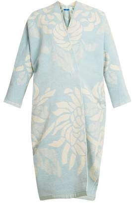 Märit Ilison - Reversible Floral Jacquard Cotton Chenille Coat - Womens - Blue White