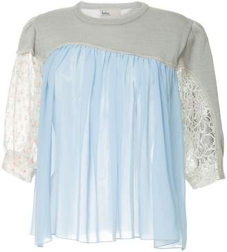 Kolor mixed material panelled blouse
