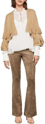 BCBGMAXAZRIA Open-Front Fringe Trim Wool-Blend Cardigan