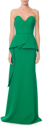 Roland Mouret Strapless Sweetheart Peplum Gown