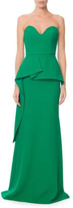 Roland Mouret Bond Strapless Sweetheart Peplum Gown