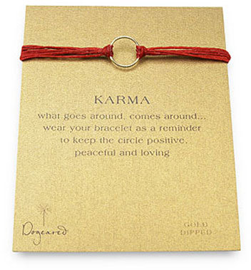 Dogeared Karma Bracelet Gold Dipped on Irish Red Linen