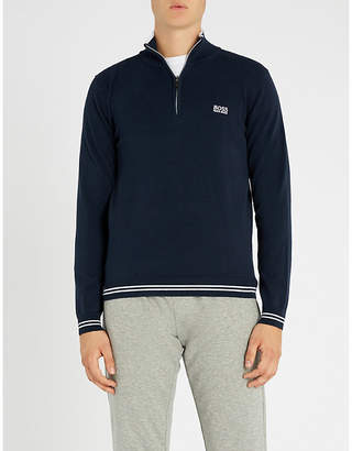 BOSS Logo-embroidered cotton-blend sweatshirt