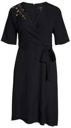 Tahari Kimono Faux Wrap Midi Dress