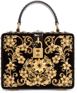 Dolce   Gabbana Dolce Box Embellished Embroidered Ayers-trimmed Velvet  Shoulder Bag - Black 0a521815e81d3