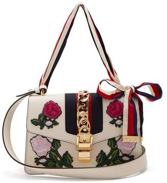 Gucci Sylvie floral-embroidered leather shoulder bag