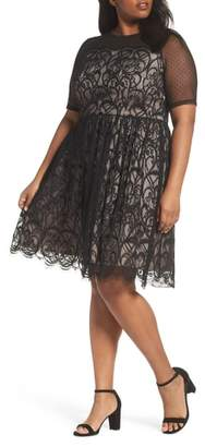 London Times Illusion Lace Fit & Flare Dress