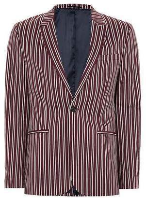 Topman Mens Red Burgundy And White Stripe Skinny Suit Jacket