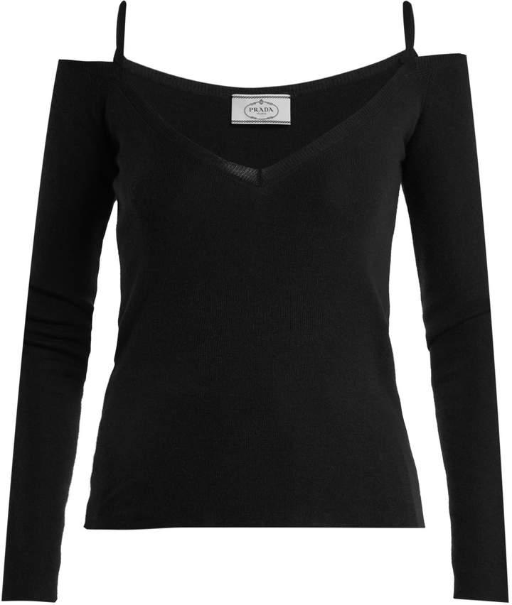 PRADA V- neck cashmere-blend top