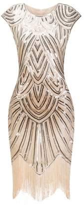Molif Flapper Gatsby Dress O-Neck Cap Sleeve Sequin Fringe Party Midi Dress Summer