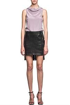 Strateas Carlucci Leather Zip Track Skirt