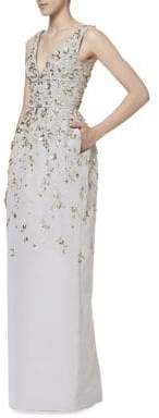 Carolina Herrera Women's Embroidered Silk Gown - Grey - Size 10