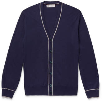 Brunello Cucinelli Contrast-tipped Wool And Cashmere-blend Cardigan - Navy