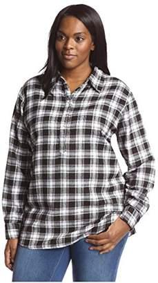 James & Erin Women's Plaid Back Button Popover Shirt
