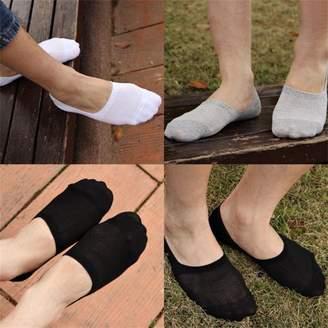 Musicrazyou 6 Pairs Men Boat Invisible No Show Non-Slip Liner Low Cut Cotton Socks