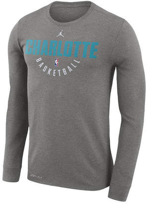 Nike Men's Charlotte Hornets Dri-fit Cotton Practice Long Sleeve T-Shirt