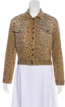 Current/Elliott Leopard Denim Jacket