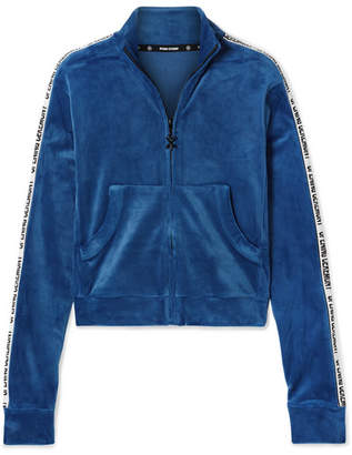 Opening Ceremony Cropped Intarsia-trimmed Velour Jacket - Bright blue
