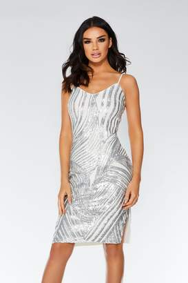 Quiz White And Silver Swirl Strappy Midi Dress