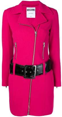 Moschino long belted biker jacket